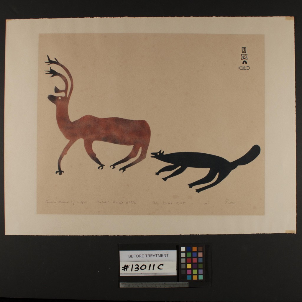 """Caribou Chased by a Wolf"" by Pudlo Pudlat, Before Conservation Treatment."