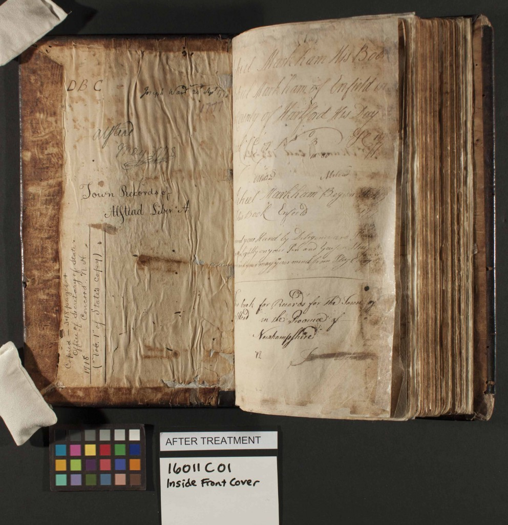 This ledger book from the Town of Alstead, with entries from 1774-1802, contains early birth, death, and marriage records as well as town meeting minutes.